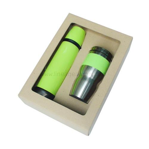 ชุดกระติกน้ำพร้อมแก้วสีเขียว กล่องกระดาษรีไซเคิล