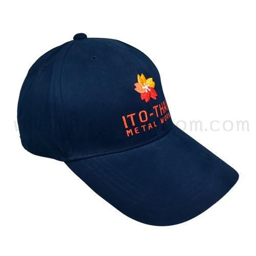 หมวกผ้าพรีส 20*10 สีกรมท่า ปักโลโก้ ITO-THAI METAL WORK ด้านหน้า 1 ตำแหน่ง
