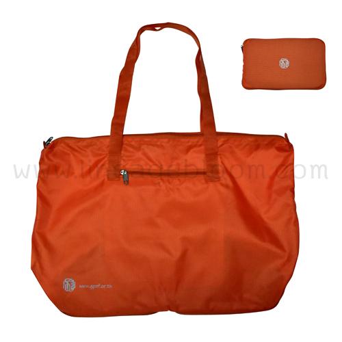 กระเป๋าผ้าลิปสต๊อก 210D PU พับได้ สีส้ม สกรีนโลโก้ กสจ. 1 สี (สีส้ม) 1 ตำแหน่ง
