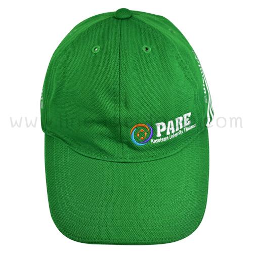 หมวกผ้าข้าวสารสีเชียว ปักโลโก้ Biomin PARE 4 สี 3 ตำแหน่ง สกรีนด้านข้าง 1 สี (สีขาว) 2 ตำแหน่ง