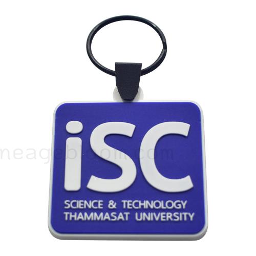 พวงกุญแจยางหยอด iSC ขนาด 6x6 cm. งาน 2 สี