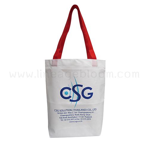 กระเป๋าผ้าสปันบอน 100 แกรมสีขาว สายผ้าในตัวสีแดง CSG