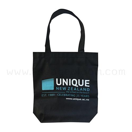 กระเป๋าผ้าสปันบอนขนาดพร้อมส่ง สีดำ UNIQUE