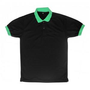 เสื้อโปโล สีดำ แขนจั๊มเขียว ปกเขียว